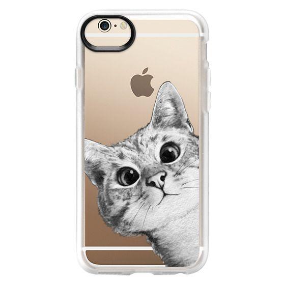 iPhone 6 Cases - peekaboo cat on rose gold