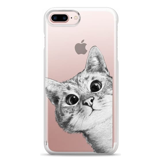 iPhone 7 Plus Cases - peekaboo cat on rose gold