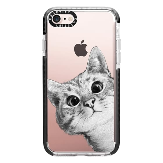 iPhone 7 Cases - peekaboo cat on rose gold