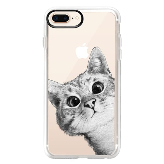 iPhone 8 Plus Cases - peekaboo cat on rose gold
