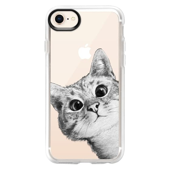 iPhone 8 Cases - peekaboo cat on rose gold