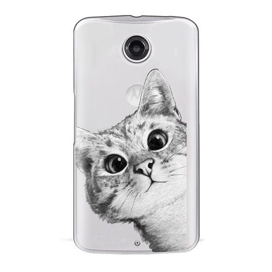 Nexus 6 Cases - peekaboo cat on rose gold