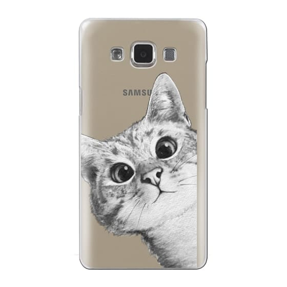 Samsung Galaxy A5 Cases - peekaboo cat on rose gold