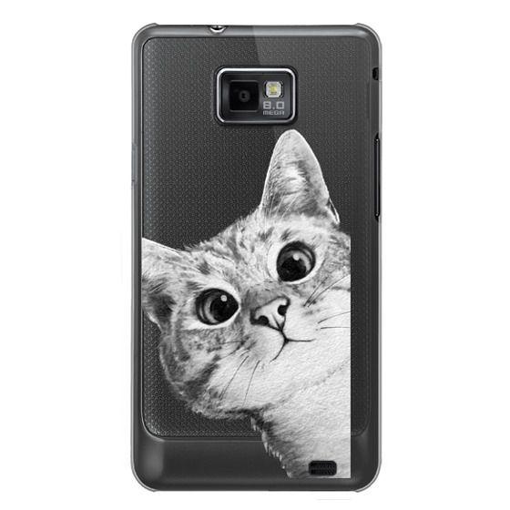 Samsung Galaxy S2 Cases - peekaboo cat on rose gold