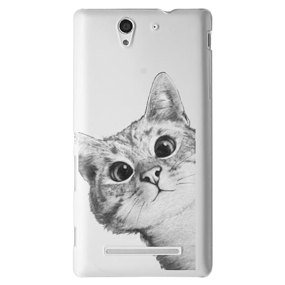 Sony C3 Cases - peekaboo cat on rose gold