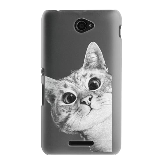 Sony E4 Cases - peekaboo cat on rose gold