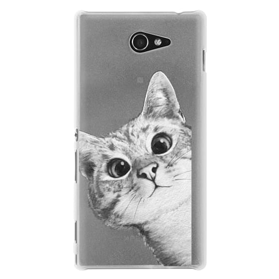 Sony M2 Cases - peekaboo cat on rose gold