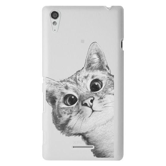 Sony T3 Cases - peekaboo cat on rose gold