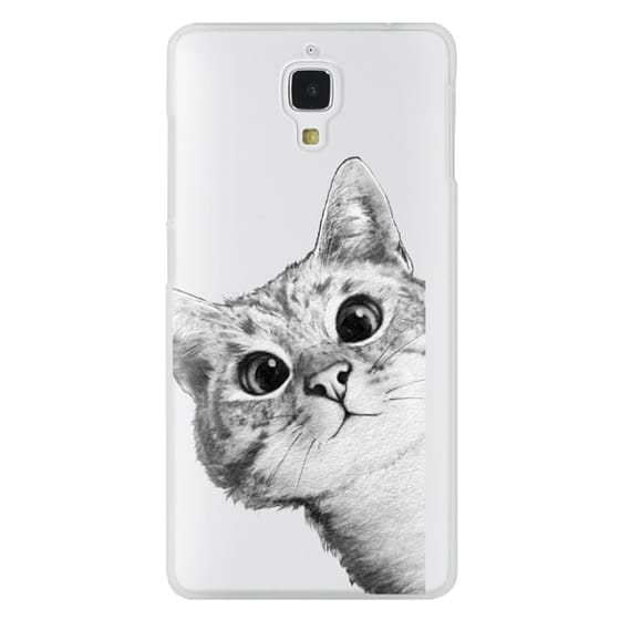 Xiaomi 4 Cases - peekaboo cat on rose gold