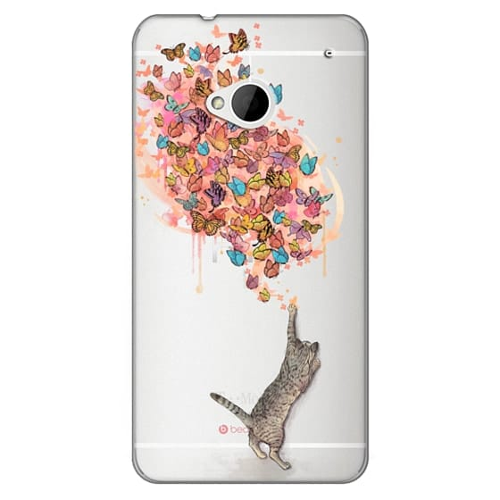 Htc One Cases - cat catching butterflies