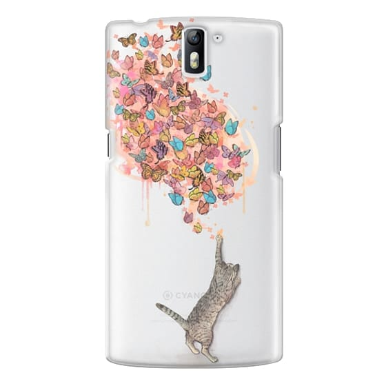 One Plus One Cases - cat catching butterflies