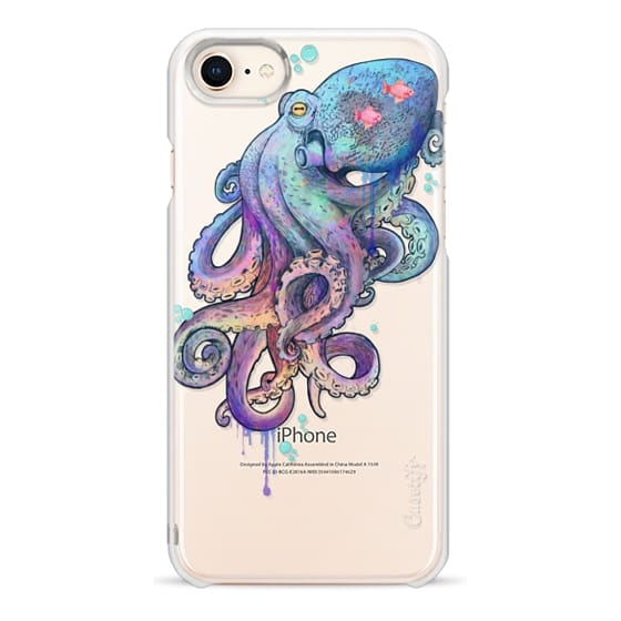 iPhone 8 Cases - nautical rainbow coloured octopus with psychedelic tentacles