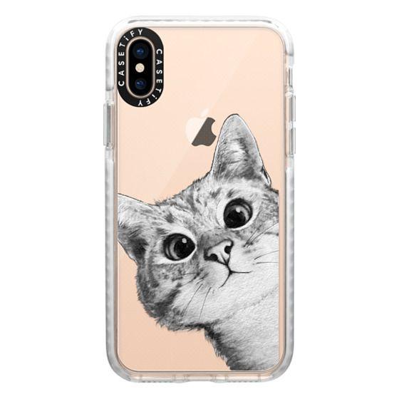 iPhone XS Cases - peekaboo cat on rose gold