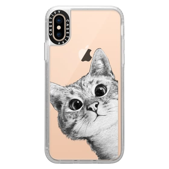 iPhone XS Cases - peekaboo cat on rose gold