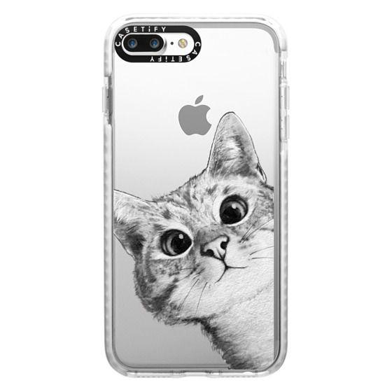 iPhone 7 Plus Cases - peekaboo cat on rose gold