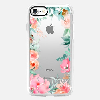 iPhone 7 Case Lush Floral Watercolor Transparent by Julie Song Ink