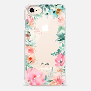 iPhone 8 Case Lush Floral Watercolor Transparent by Julie Song Ink