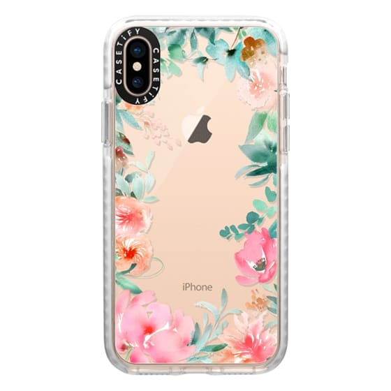iPhone XS Cases - Lush Floral Watercolor Transparent by Julie Song Ink