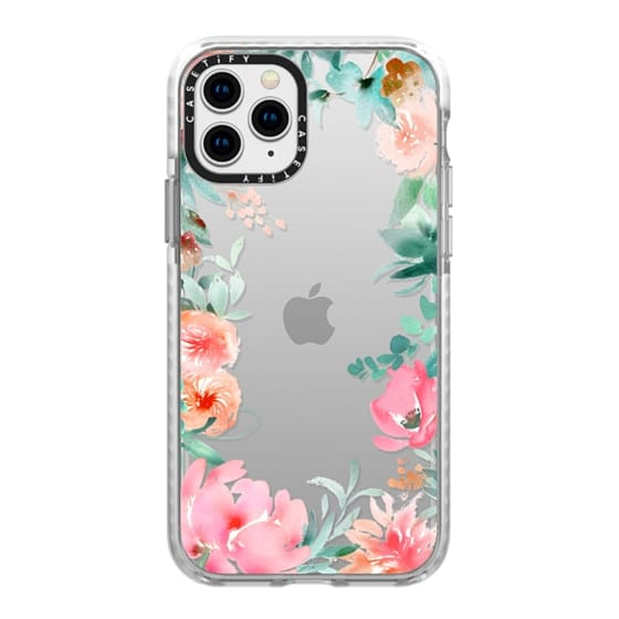 iPhone 11 Pro Cases - Lush Floral Watercolor Transparent by Julie Song Ink