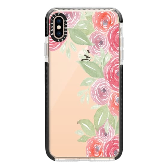 iPhone XS Max Cases - Pink & Green Watercolor Flowers