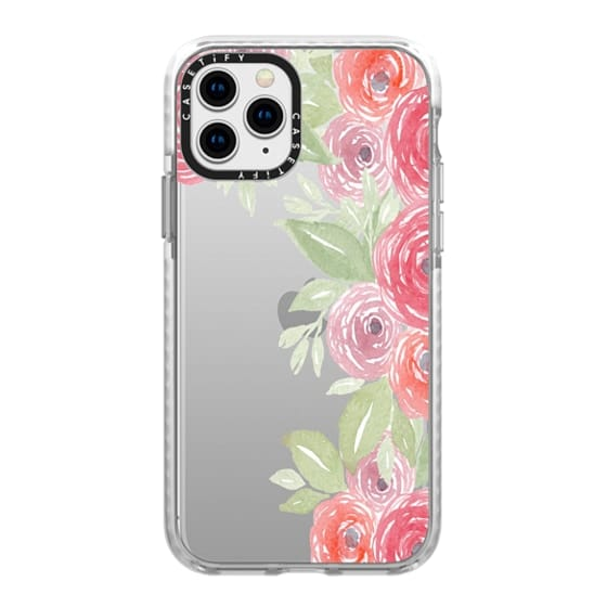 iPhone 11 Pro Cases - Pink & Green Watercolor Flowers