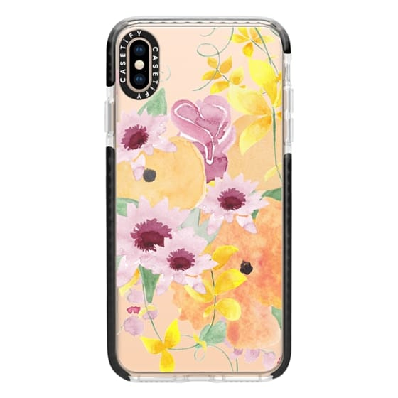 iPhone XS Max Cases - Purple & Yellow Bouquet Watercolor