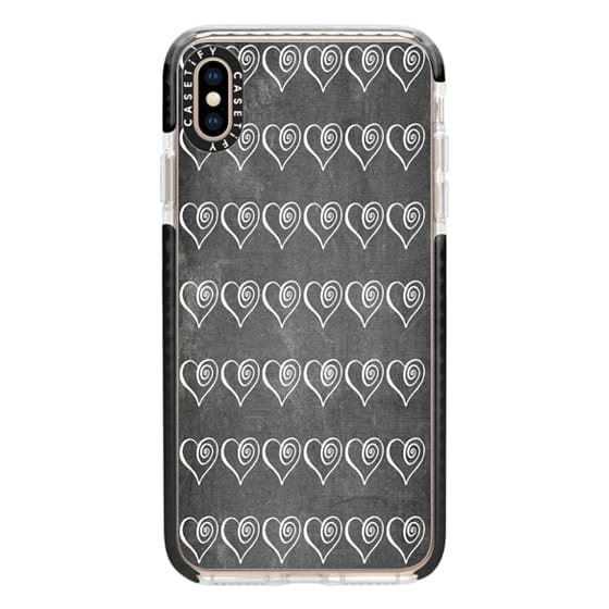 iPhone XS Max Cases - Swirly Hearts on Chalkboard