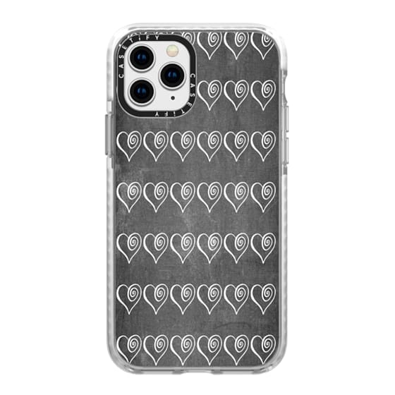 iPhone 11 Pro Cases - Swirly Hearts on Chalkboard
