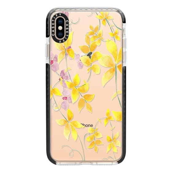 iPhone XS Max Cases - Purple & Yellow Vines Watercolor