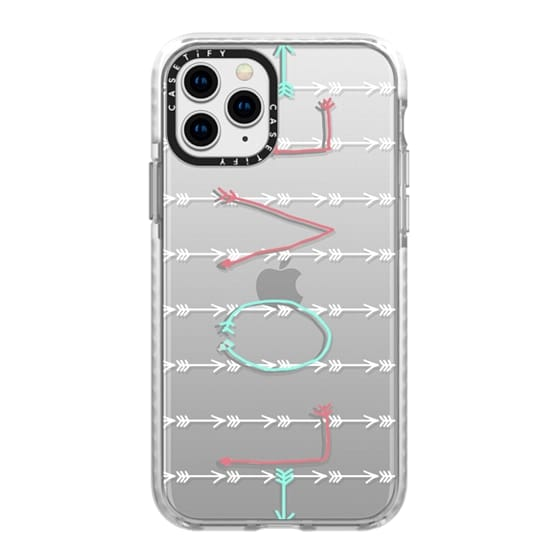 iPhone 11 Pro Cases - Love Arrows Turquoise Coral