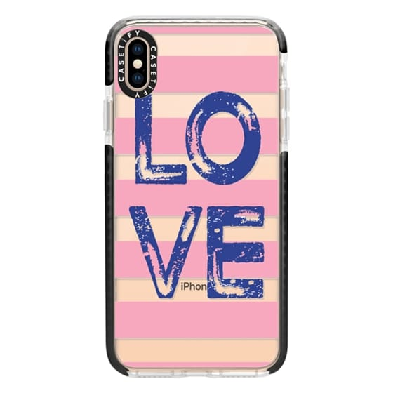 iPhone XS Max Cases - Love square navy on pink