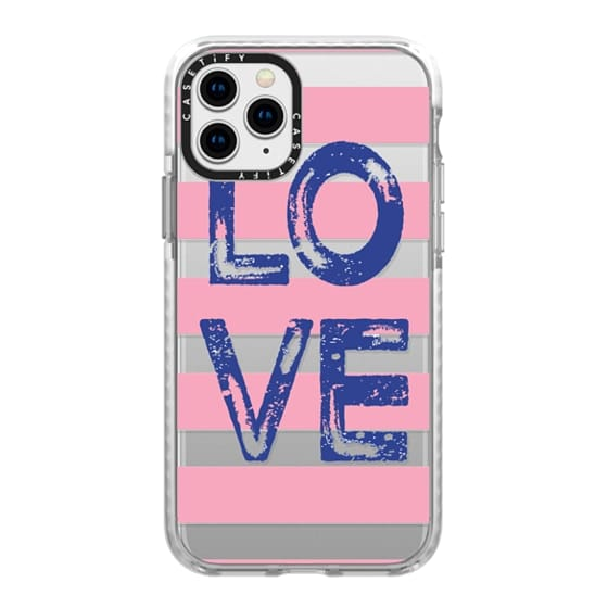 iPhone 11 Pro Cases - Love square navy on pink