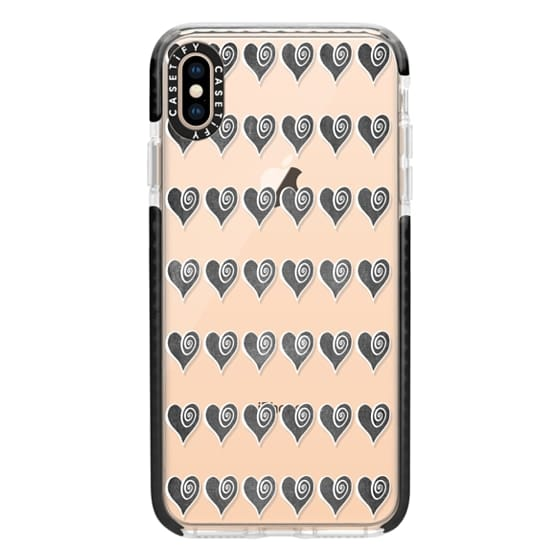 iPhone XS Max Cases - Black Swirly Hearts
