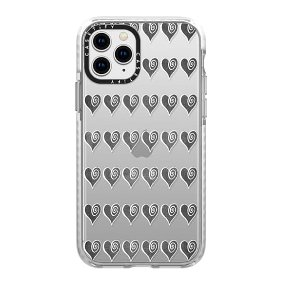 iPhone 11 Pro Cases - Black Swirly Hearts
