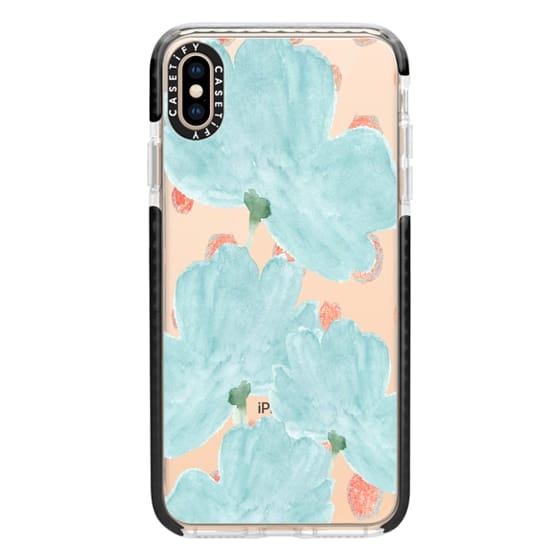 iPhone XS Max Cases - Blue Flowers Coral Dots