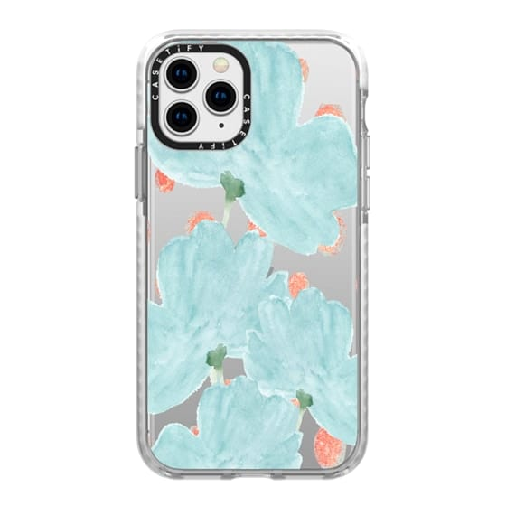 iPhone 11 Pro Cases - Blue Flowers Coral Dots