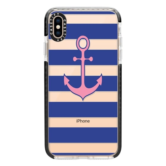 iPhone XS Max Cases - Pink Anchor Navy Stripes