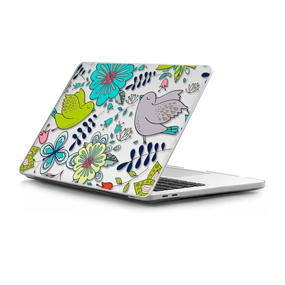 MacBook Pro Touchbar 13 Sleeves - Little Birds Floral - Grey Green Turquoise