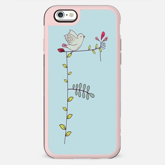"""Floral """"F"""" on Vintage Blue - Your Initial - New Standard Case"""
