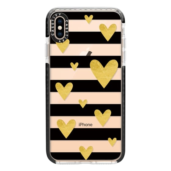 iPhone XS Max Cases - Golden hearts