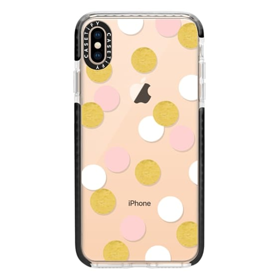 iPhone XS Max Cases - Pink white gold dots