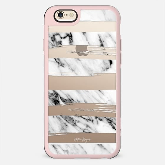 Chic Stripes by Nature Magick - Real Black + White Marble - New Standard Case
