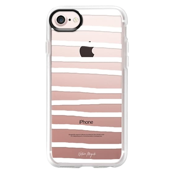 iPhone 7 Plus Cases - Drawn Stripes by Nature Magick - White + Clear