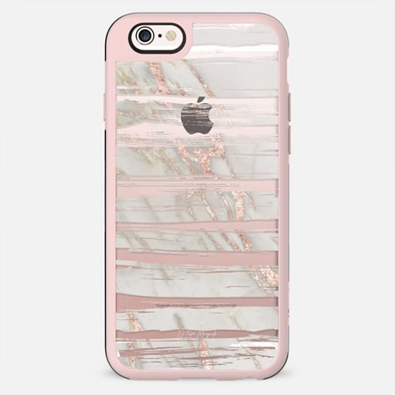 Rose Gold Marble Modern Stripes by Nature Magick - Rose Gold White Marble + Clear