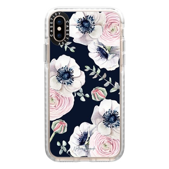 iPhone XS Cases - Navy Blossom Flower Love by Nature Magick - Navy Pink Pastel Floral