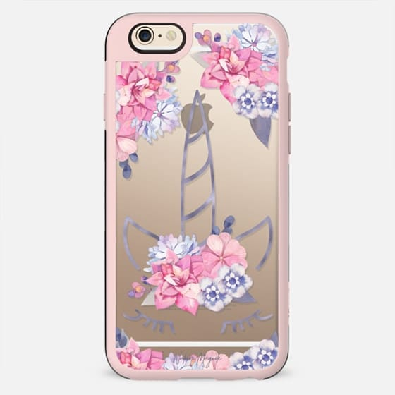 Unicorn with Flowers by Nature Magick - Purple Pink Clear Transparent Alicorn - New Standard Case