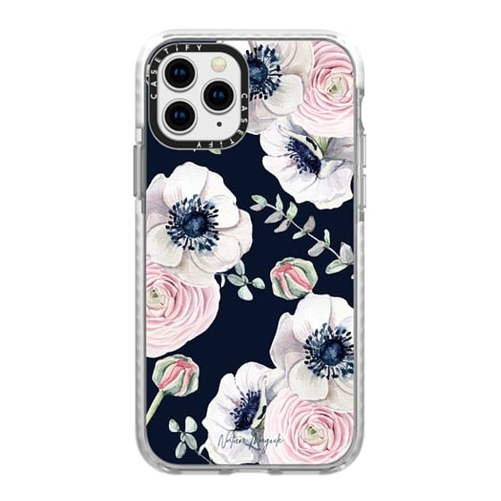 iPhone 11 Pro Cases - Navy Blossom Flower Love by Nature Magick - Navy Pink Pastel Floral