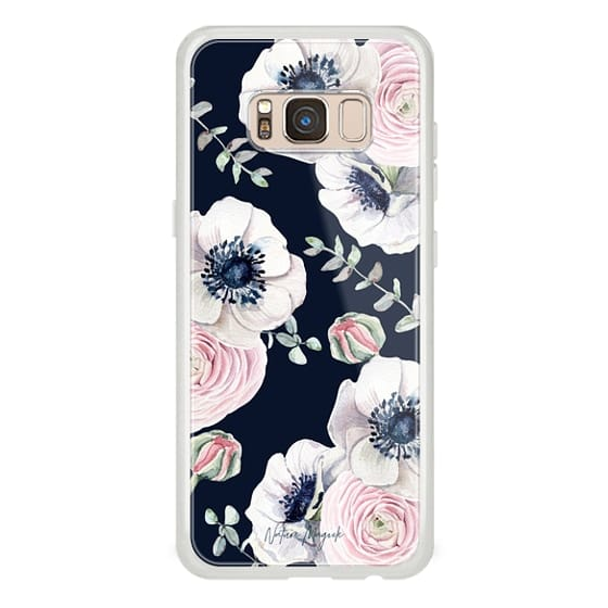 Samsung Galaxy S8 Cases - Navy Blossom Flower Love by Nature Magick - Navy Pink Pastel Floral