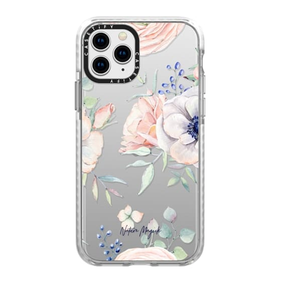 iPhone 11 Pro Cases - In the Garden by Nature Magick - Floral Flowers Pink Pastel Roses Clear Case