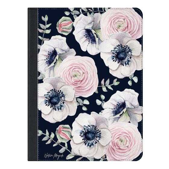 9.7-inch iPad Covers - Navy Blossom Love by Nature Magick